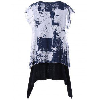 Plus Size Graphic Layered Batwing Sleeve T-shirt - WHITE/BLACK 2XL