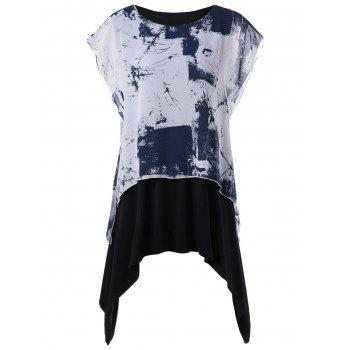 Plus Size Graphic Layered Batwing Sleeve T-shirt