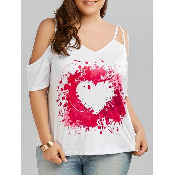Heart Painting Print Cold Shoulder Plus Size Top