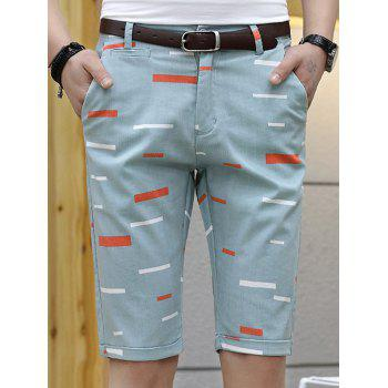 Zipper Fly Printed Bermuda Shorts