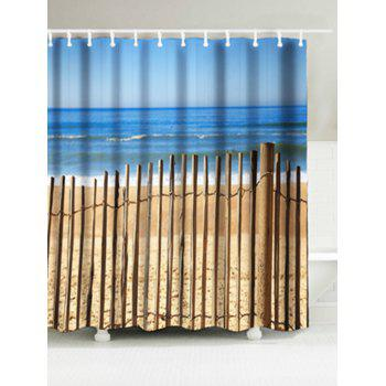 Beach Fence Print Bathroom Water Resistant Shower Curtain