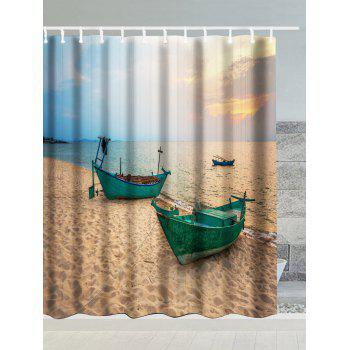 Beach Boat Print Waterproof Shower Curtain