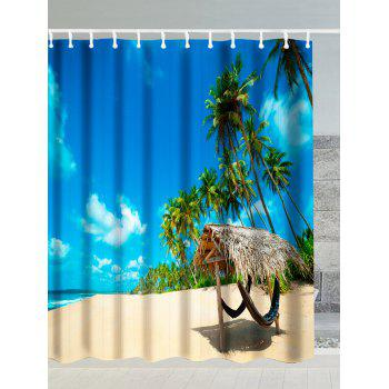Water Resistant Shower Curtain with Tropical Beach Print