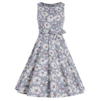 Sleeveless Fit and Flare Floral Summer Dress