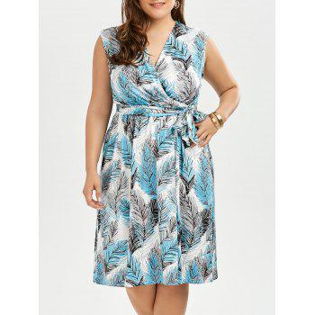 Sleevelss Leaf Print Plus Size Surplice Dress
