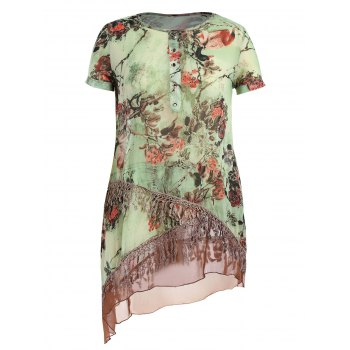 Plus Size Floral Layered Tassel Chiffon Tunic Top