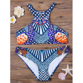 High Neck Peacock Print Racerback Bikini Set
