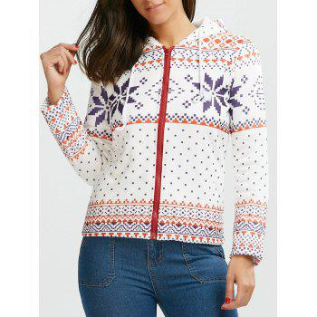 Fleece Hooded Snowflake Printed Christmas Hoodie