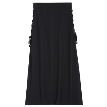 High Waist Lace-Up High Slit Maxi Skirt, BLACK, S in Skirts ...