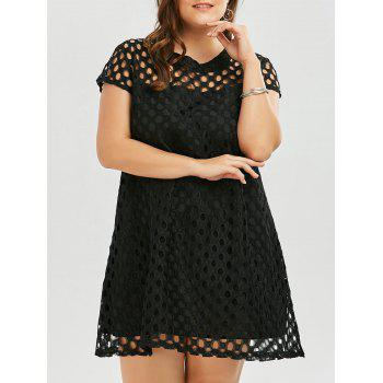 Plus Size Cutout Openwork A Line Dress