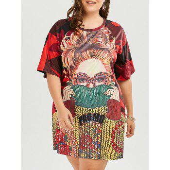 Plus Size Funny Printed T-shirt Dress