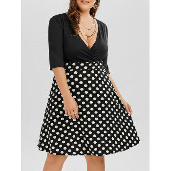 Polka Dot A Line Plus Size Surplice Dress
