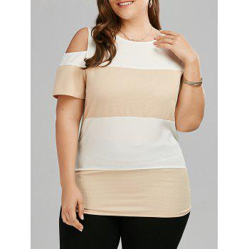 Plus Size Colorblock Open Should Long T-shirt