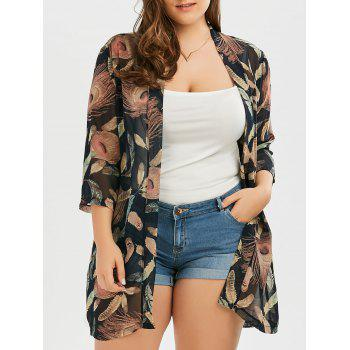 Plus Size Feather Print Collarless Chiffon Kimono