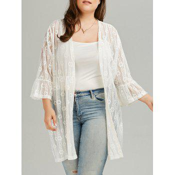 Plus Size Bell Sleeve See Through Lace Cover Up Kimono