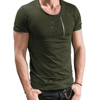 Short Sleeves Destroyed Zipper Design T-shirt