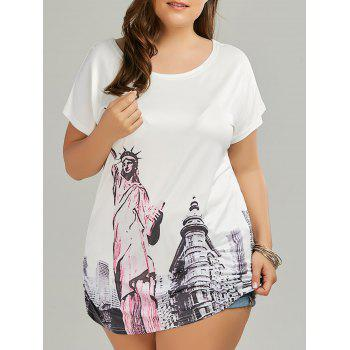 Plus Size Long Statue of Liberty Printed T-shirt