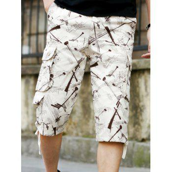 Print Cargo Shorts with Multi Pockets