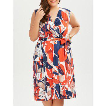 Sleeveless Printed Plus Size Surplice Dress