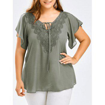 Plus Size Lace Trim Tie Front Blouse