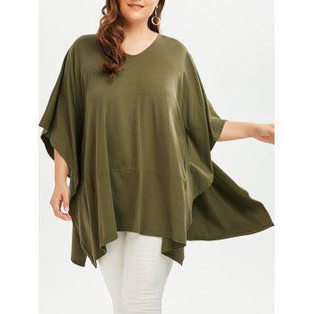 Plus Size V  Neck Dolman Sleeve Plain T-shirt