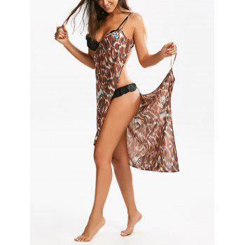 Double-Deck Cheetah Print Beach Cover Up