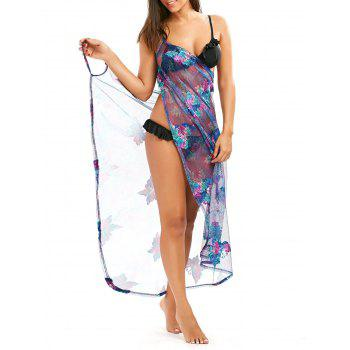 Fishnet Swimsuit Cover Up Dress with Tropical Butterfly