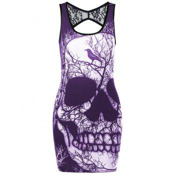 Skull Lace Insert Open Back Tank Dress