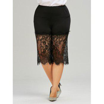 Lace Trim Plus Size Wide Leg Pants - BLACK 5XL