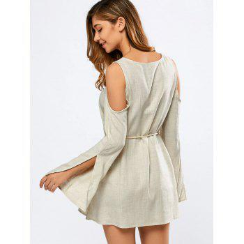 V Neck Split Sleeve Cold Shoulder Dress - OFF WHITE L