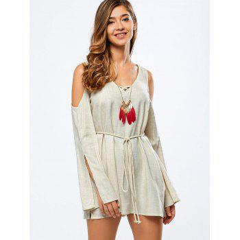 V Neck Split Sleeve Cold Shoulder Dress