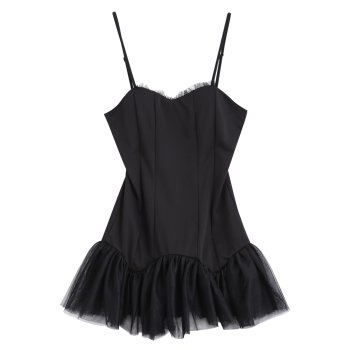 Low Back Mermaid Mini Slip Club Dress - BLACK BLACK