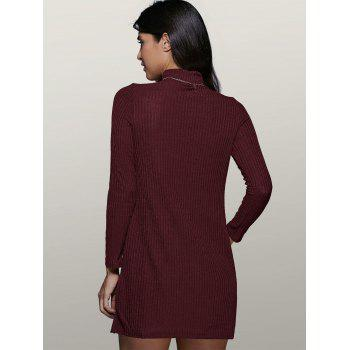 Long Sleeve High Collar Sweater Dress - WINE RED L