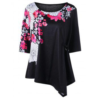 Floral Plus Size Embellished Asymmetrical T-shirt
