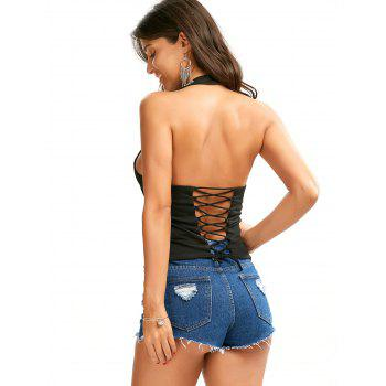 Halter Backless Tank Top with Criss Cross