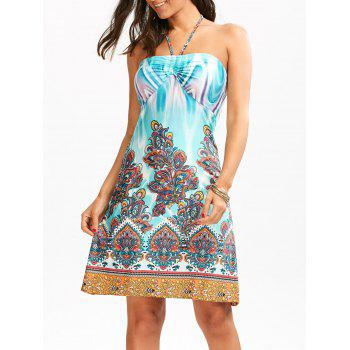 Tribal Totem Print Halter Empire Waist Dress