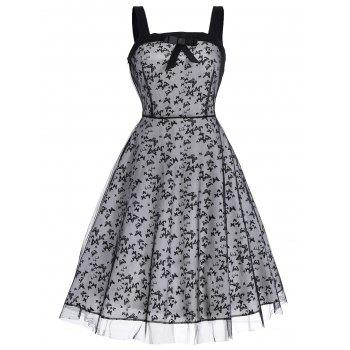 Bowknot Butterfly Print Retro Flare Dress