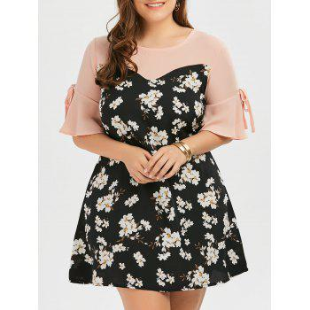 Plus Size Bow Tie Floral Chiffon Dress with Flare Sleeve