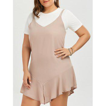 Plus Size Drop Waist Cami Dress and Plain T-shirt