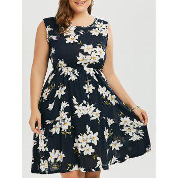 Plus Size Sleeveless Floral Elastic Waist Dress