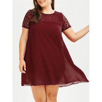 Plus Size Lace Insert Chiffon Flowy Tunic Top