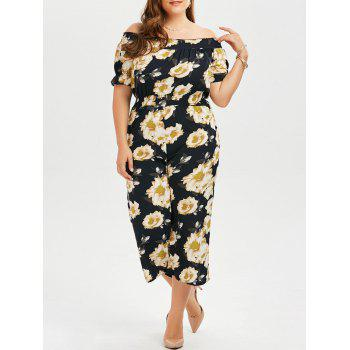 Plus Size Floral Off The Shoulder Chiffon Palazzo Jumpsuit