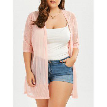 Plus Size Ribbed Collarless  Long Sheer Cover Up Kimono