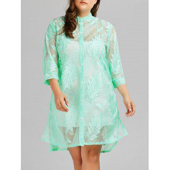 Plus Size Feather Printed Sheer Long Swim Cover Up Kimono
