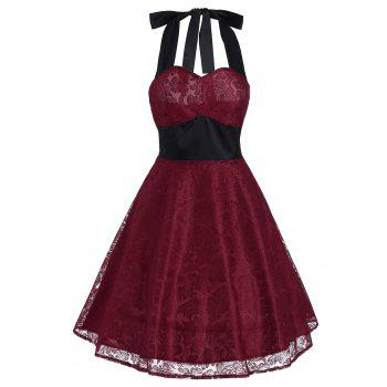 Vintage Contrast Lace Insert Flare Dress