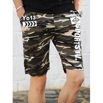 Drawstring Graphic Print Camo Shorts