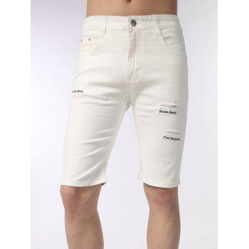 Zip Fly Distressed Embroidered Shorts