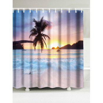 Tropical Coconut Tree Waterproof Bath Curtain