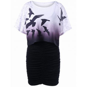 Bird Print Oversized Tee and Bodycon Slip Dress