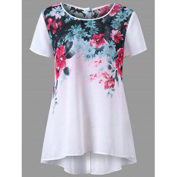 Button Back Floral Print Plus Size Top